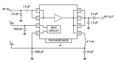 RF high power RF amplifier electronic project circuit using RF2126
