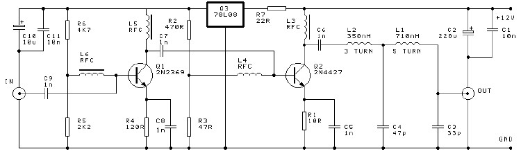 VHF amplifier 16 dB 250mW circuit project