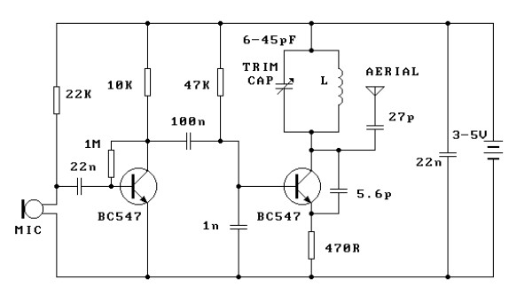 Simple 3 volts FM transmitter circuit diargram