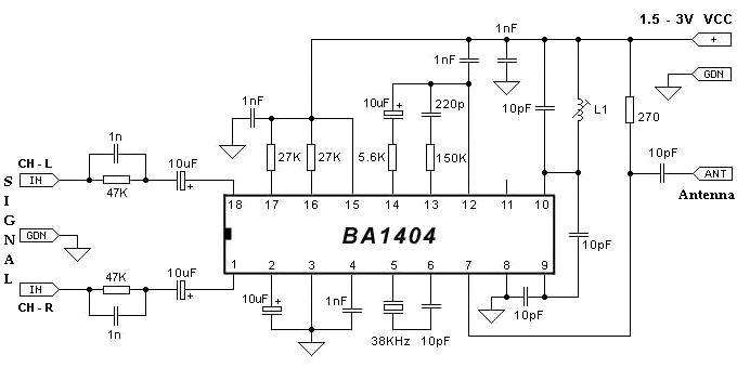 BA1404 Stereo FM Transmitter schematic circuit diagram