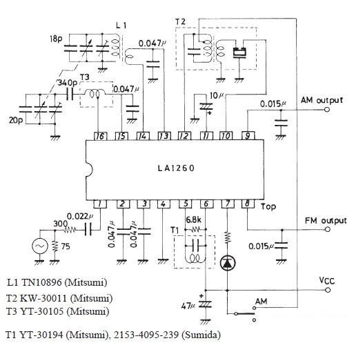 LA1260 FM IF MW radio receiver schematic circuit diagram