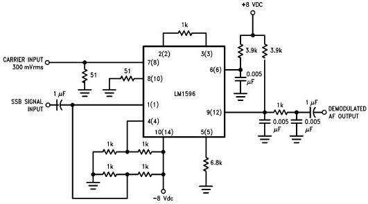 SSB product detector schematic circuit with LM1496 balanced modulator-demodulators IC