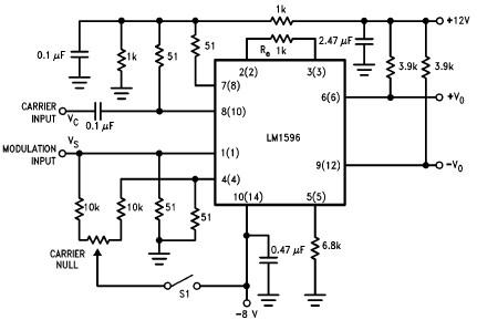 LM1596 balanced modulator schematic circuit project