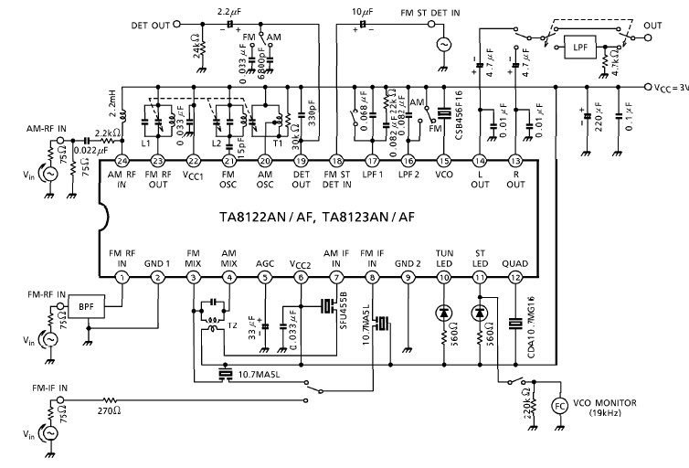 AM FM radio receiver circuit diagram using TA8122