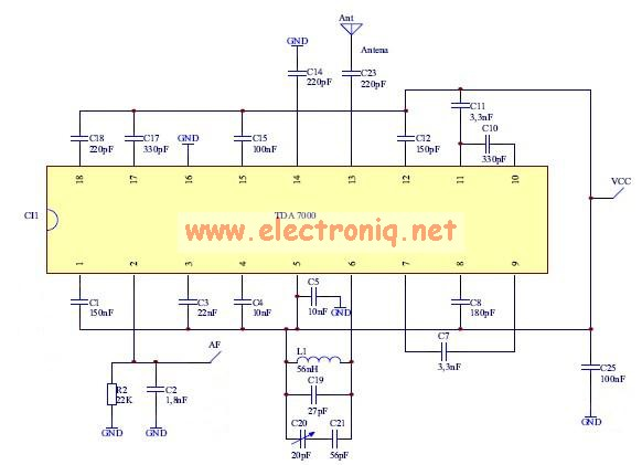tda7000 fm radio receiver electronic schematic circuit