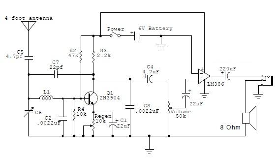 regenerative am receiver electronic circuit