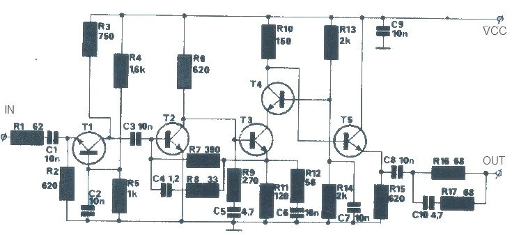 simple 20 db gain antenna amplifier circuit schematic