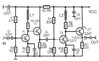 high efficiency 43 db antenna amplifier schematic circuit