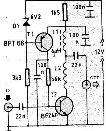 VHF antenna amplifier using transistor