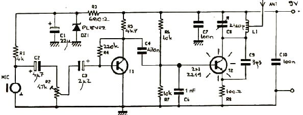 simple FM transmitter electronic project circuit using transistors