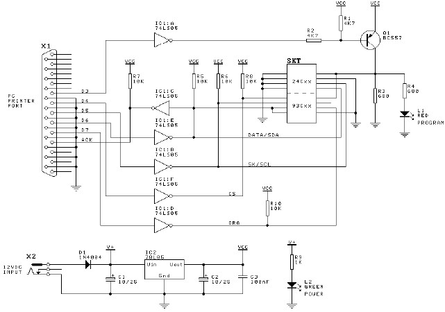 Serial EEPROM programmer circuit diagram