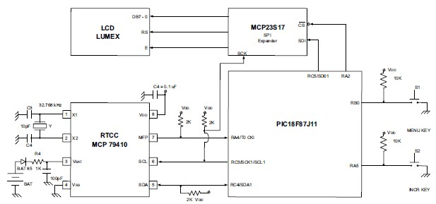 Watch system electronic project circuit using PIC18F87J11 MCU