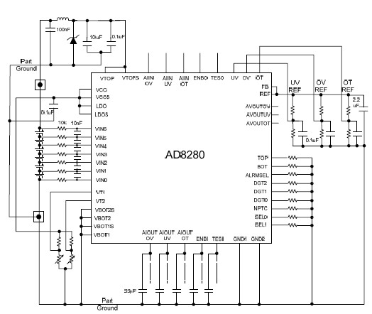 AD8280 safety monitor circuit diagram for Lithium Ion battery