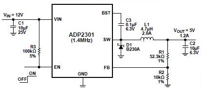 ADP2301 dc-to-dc regulators schematic circuit