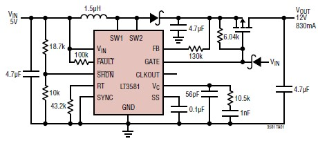 12 volts schematic circuit using LT3581 integrated circuit