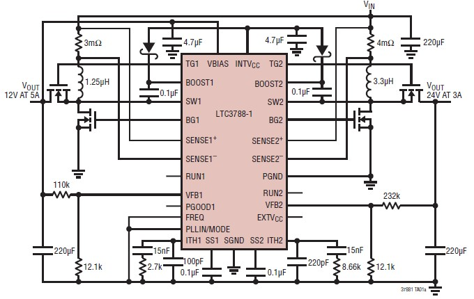 LTC3788-1 high performance 2-phase dual synchronous boost converter controller