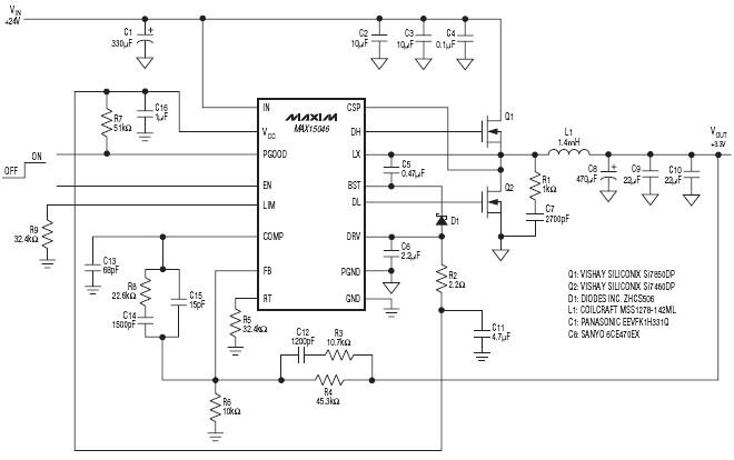 MAX15046 synchronous step-down controller IC schematic