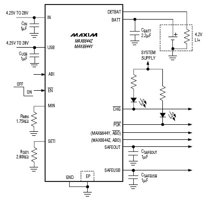 MAX8844Y-MAX8844Z charger circuit schematic