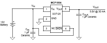 MCP1804 low-dropout voltage regulator