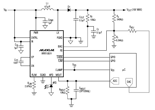 Max1503 80V 300mW Boost Converter and current Monitor