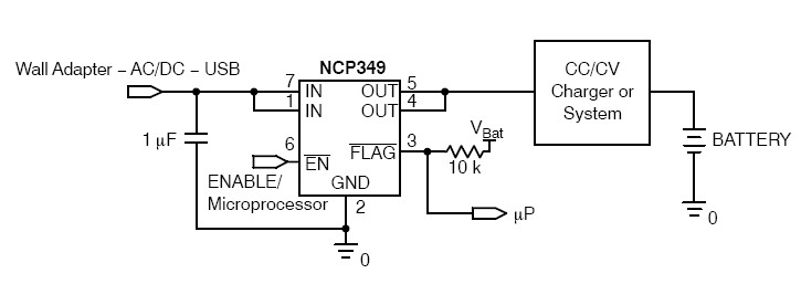 NCP349 Positive Overvoltage Protection Controller