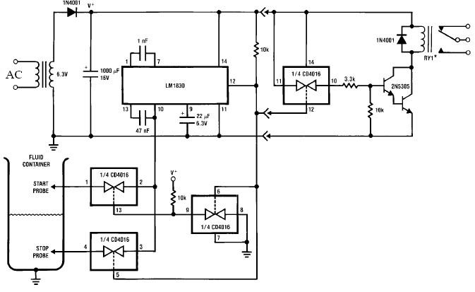 LM1830 flow switch level sensors schematic circuit