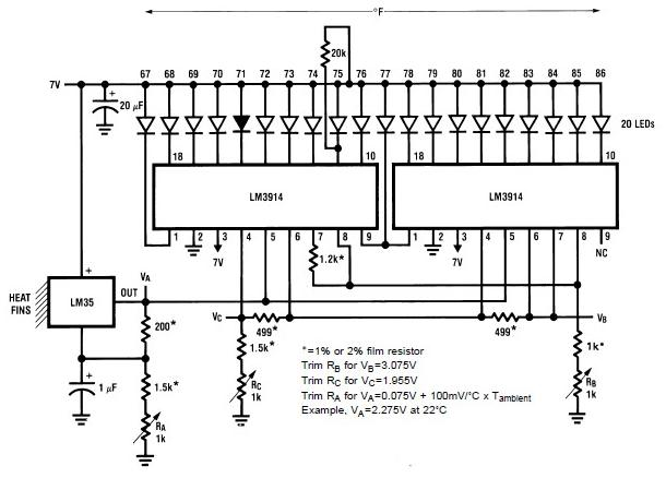 LM35 LM3914 electronic analog thermometer schematic circuit