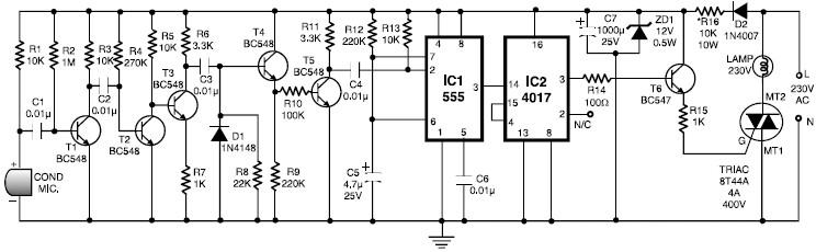 Clap switch circuit using 555 timer