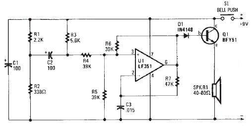electronic door buzzer circuit schematic using op amp