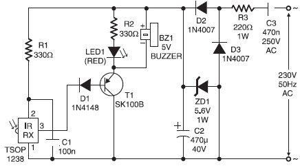 Infared remote control tester circuit
