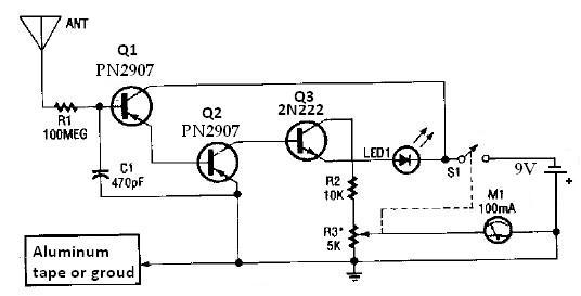 negative ion detector schematic circuit diagram