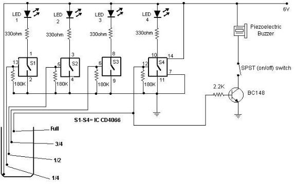 water level indicator schematic circuit using CMOS IC and LEDs