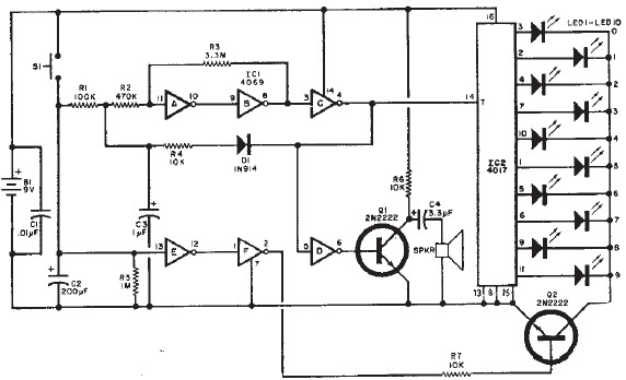 Wheel of Fortune electronic circuit schematic diagram
