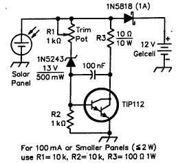 simple solar charger circuit diagram