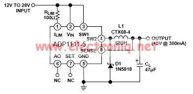 ADP1111 20 V to 5 V Step-Down Converter
