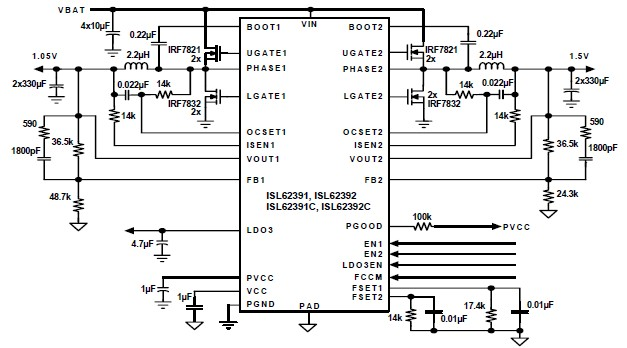 ISL62391, ISL62392 power supply controller electronic circuit diagram project