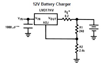 12V car battery charger using LM317 regulator