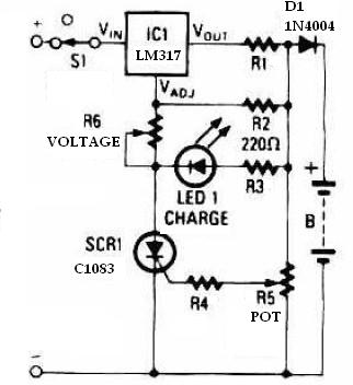 lm317 Universal battery charger circuit diagram
