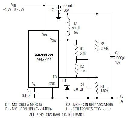 5 volts DC inverter circuit diagram based on the MAX724 regulator IC