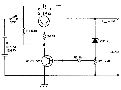 Ni-Cd battery discharge limiter electronic project circuit diagram