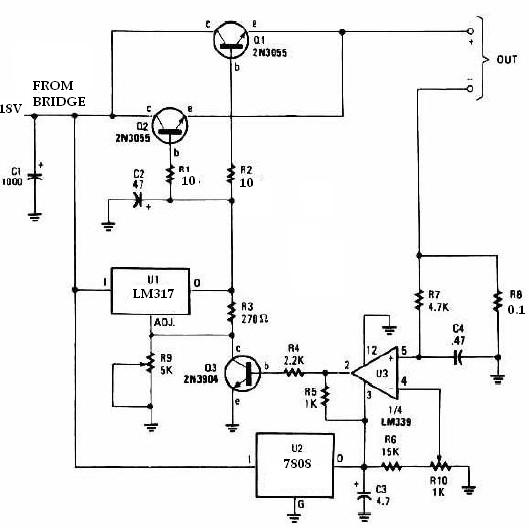 universal charger schematic circuit diagram using lm317 regulator and 2n3055 transistors