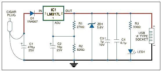 usb car charger circuit