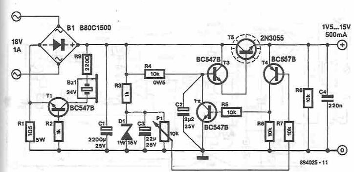 15V variable power supply circuit using 2N3055