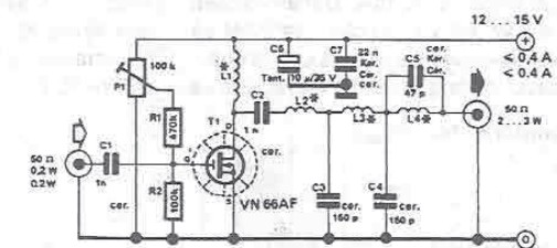 RF amplifier circuit for 10 meters band