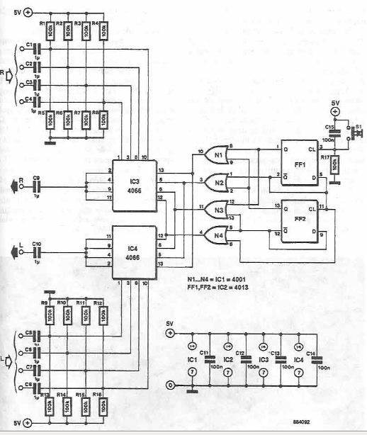 4 channel stereo audio signal switch circuit diagram using CMOS