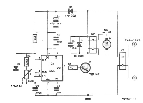Speed regulator for DC motors circuit diagram