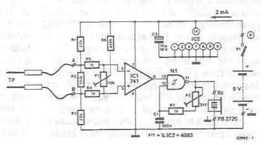 Electric continuity tester circuit diagram