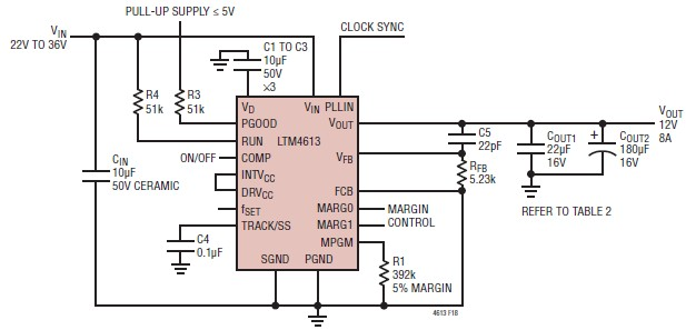 LTM4613 12 volt switching regulator circuit electronic project