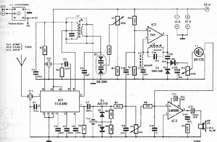 TCA440 FM CB radio receiver circuit schematic