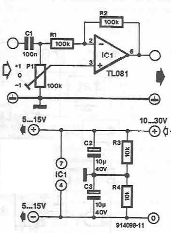 TL081 gain mitigation selector circuit
